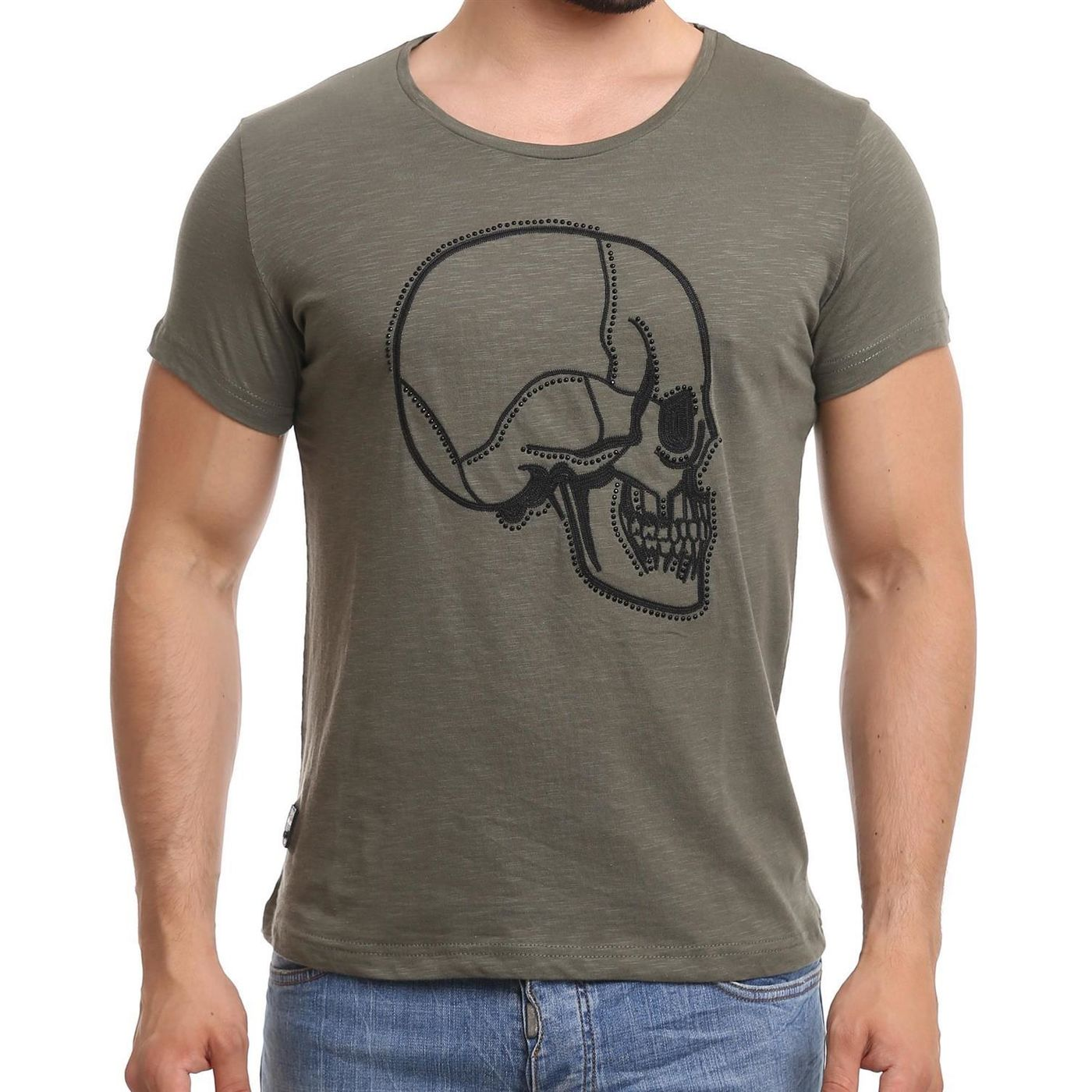 redbridge herren t shirt mit strasssteinen und stitched skull totenkopf motv farbe khaki 11 99. Black Bedroom Furniture Sets. Home Design Ideas
