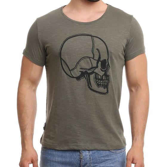 Red Bridge Herren T-Shirt Stitched Skull Khaki mit...
