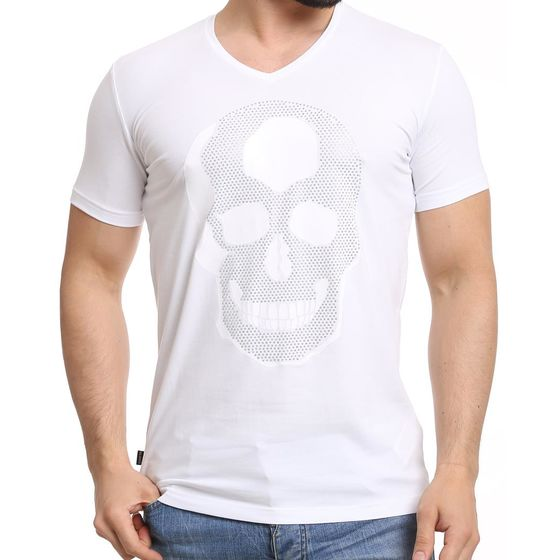 Red Bridge Herren T-Shirt Rhinestone Skull White