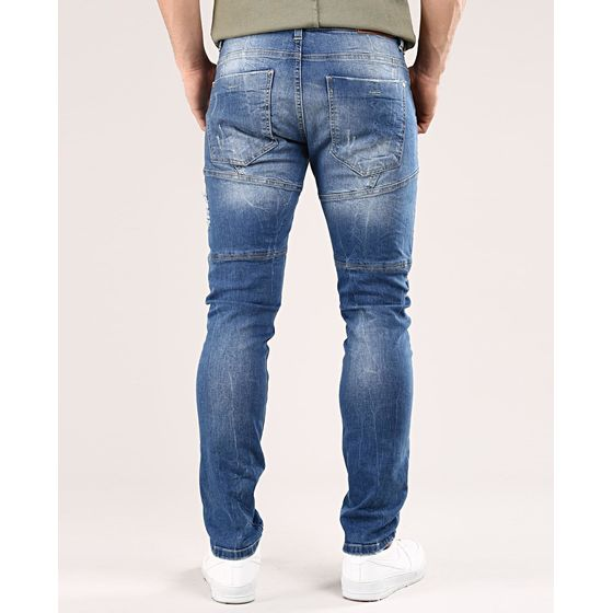 Red Bridge Herren Ripped Patches Röhrenjeans Jeans Hose Blau