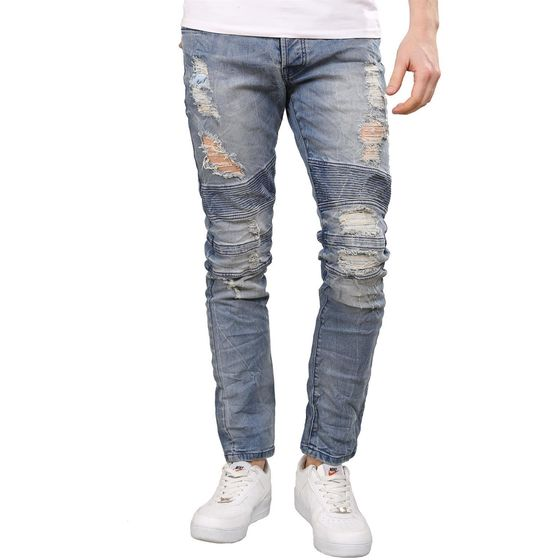 Red Bridge Herren Biker Jeans Destroyed Röhrenjeans Hose...