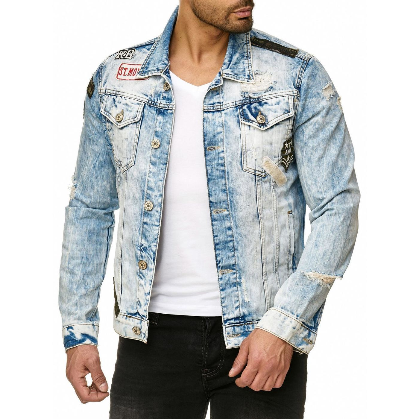 red bridge herren jeansjacke bold duty military destroyed blau m6043 64 99. Black Bedroom Furniture Sets. Home Design Ideas