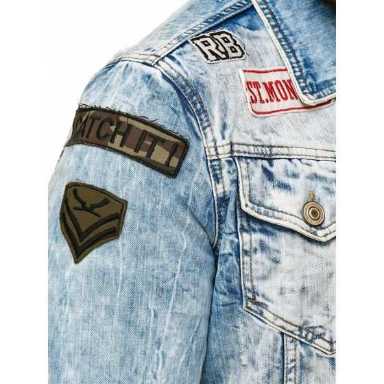 Red Bridge Herren Jeansjacke Bold Duty Military Destroyed Blau