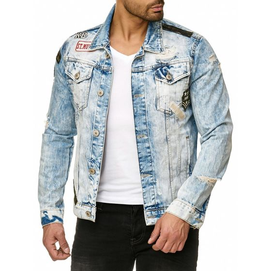 Red Bridge Mens Denim Jacket Bold Duty Military Destroyed...