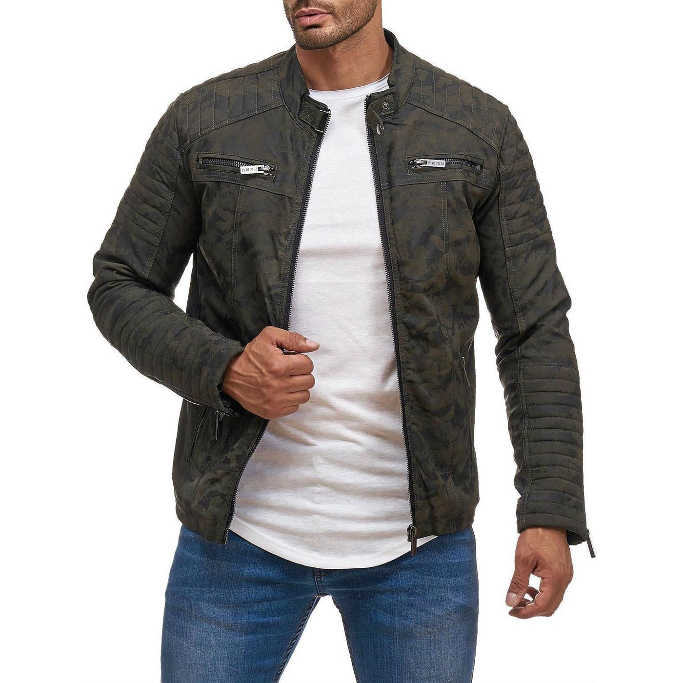 Mens Red Quilted Leather Jacket