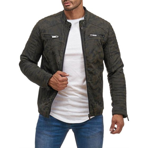 Red Bridge Mens imitation Leather Jacket Transition...