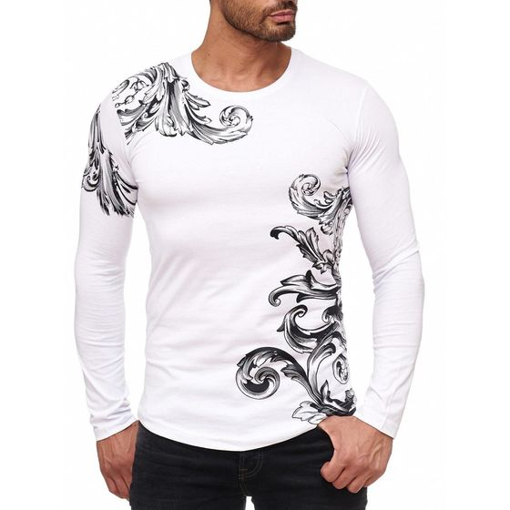 Red Bridge Men Relaxing Floral Design Longsleeve Pullover T-Shirt Longsleeve  White da32c3a0c5