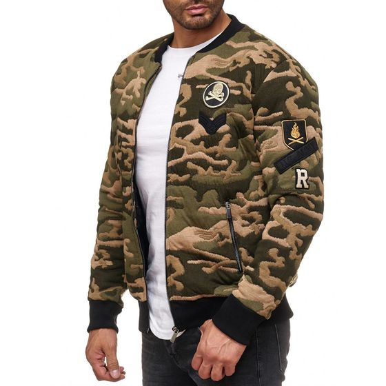 Red Bridge Herren College U.S Army Sweatjacke Jacke mit Patches Camouflage Grün