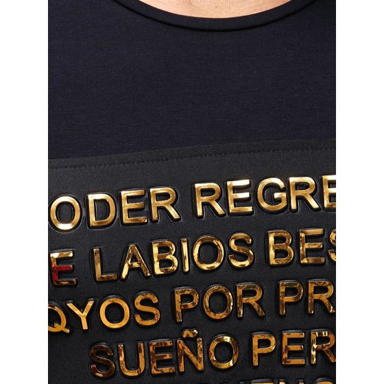 Red Bridge Herren Golden Text Latino Longsleeve Pullover Special Schwarz