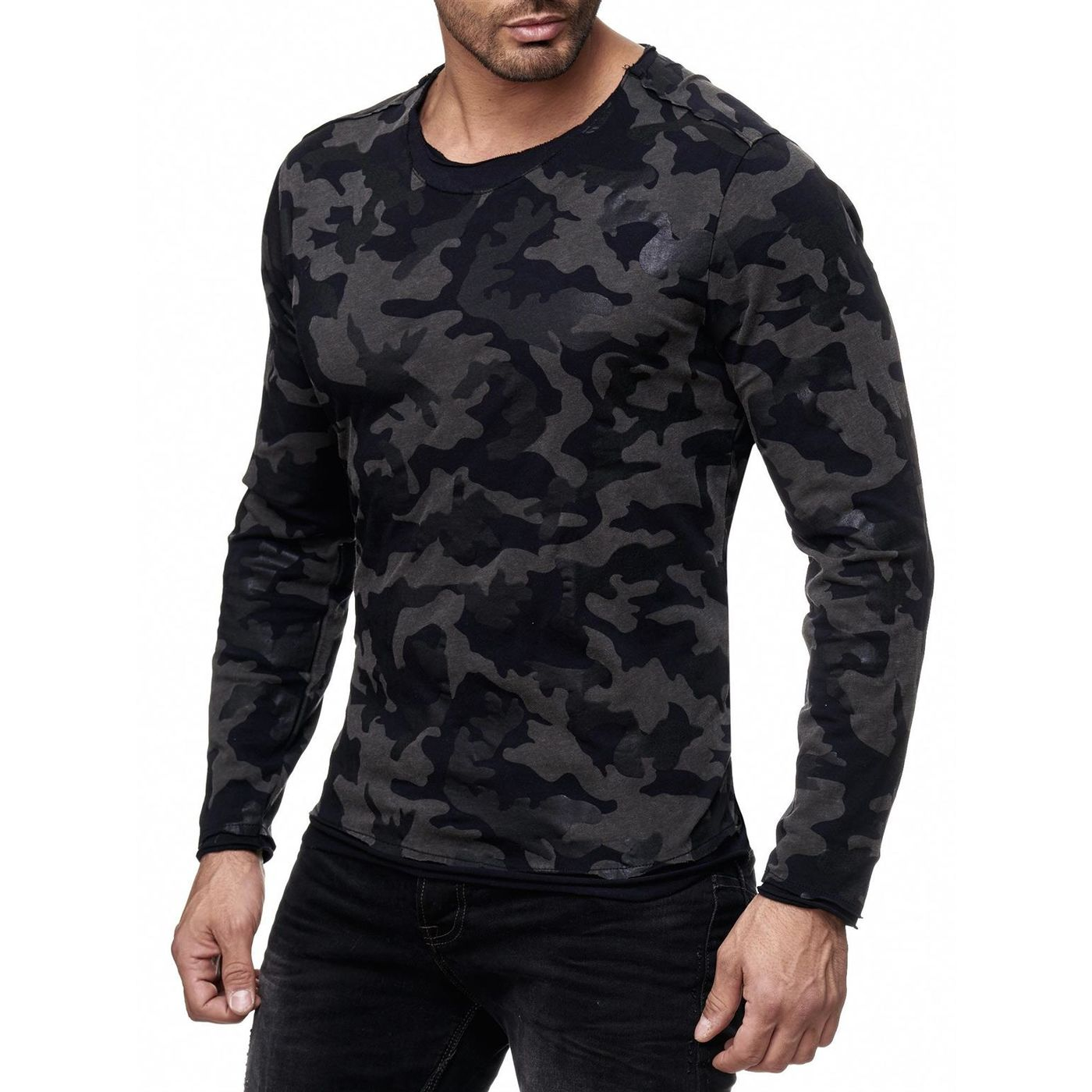 red bridge herren mystery black camo longsleeve pullover. Black Bedroom Furniture Sets. Home Design Ideas