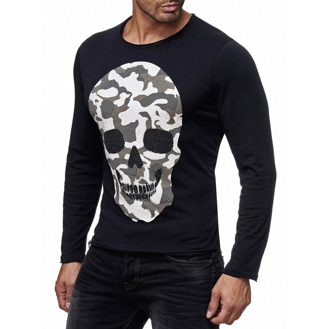 red bridge herren camo skull motiv longsleeve pullover mit. Black Bedroom Furniture Sets. Home Design Ideas