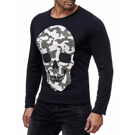 Redbridge Mens Camo Skull Motif Longsleeve Sweater with Rhinestones Long Sleeve Shirt Camouflage Black