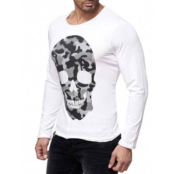 Red Bridge Men Camo Skull Motif Longsleeve Sweater with Rhinestones Long Sleeve Shirt Camouflage White
