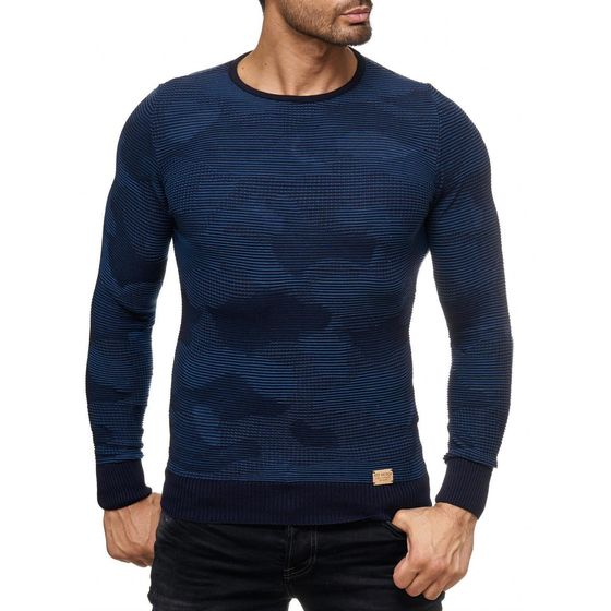Red Bridge Herren New Style Camo Effect Strickpullover Pullover Sweat Longsleeve Camouflage Dunkelblau