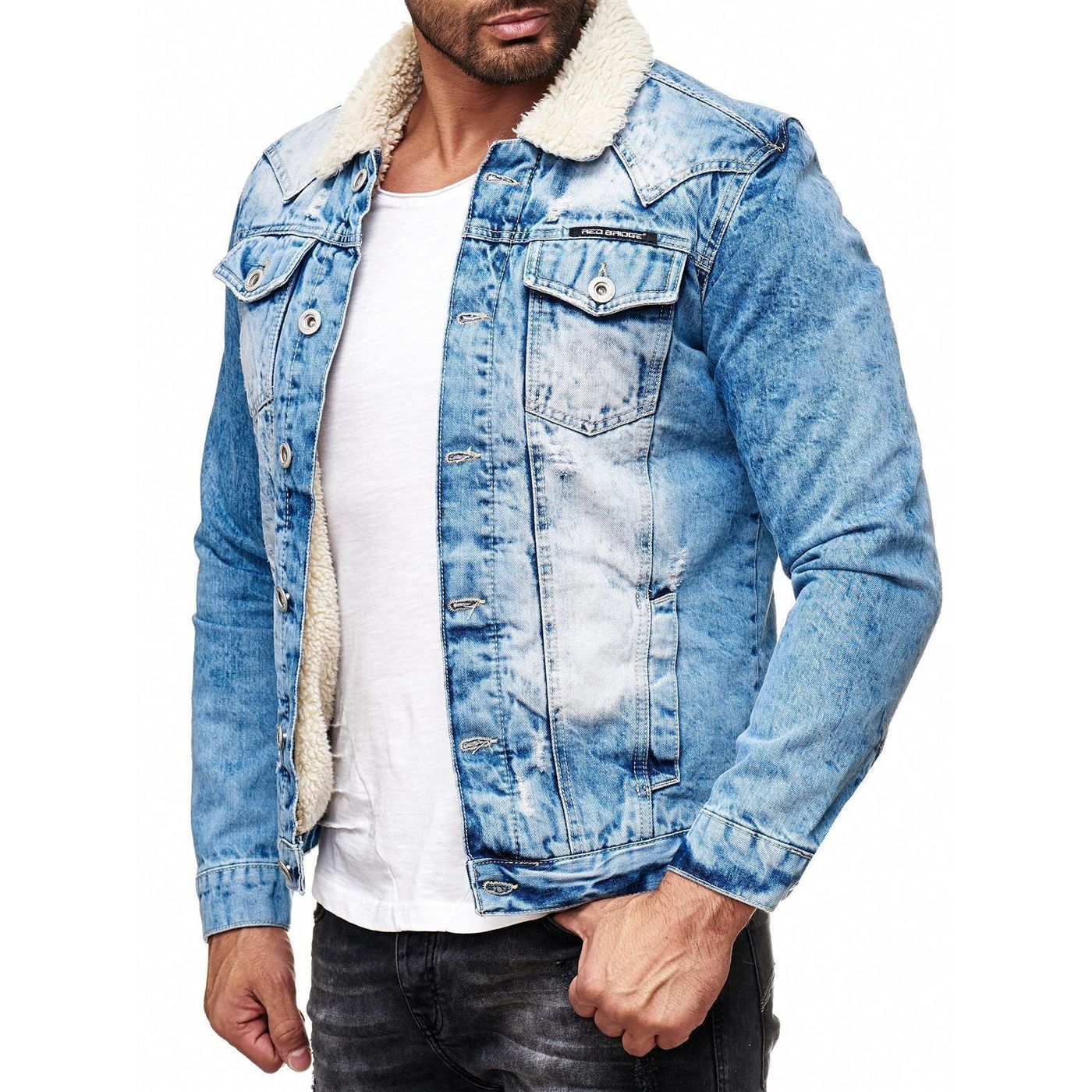 red bridge herren jeansjacke trucker sherpa denim rbc jeansjacke gef 64 99