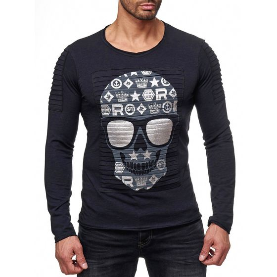 Red Bridge Mens Happy Sunny Silver Skull Longsleeve...