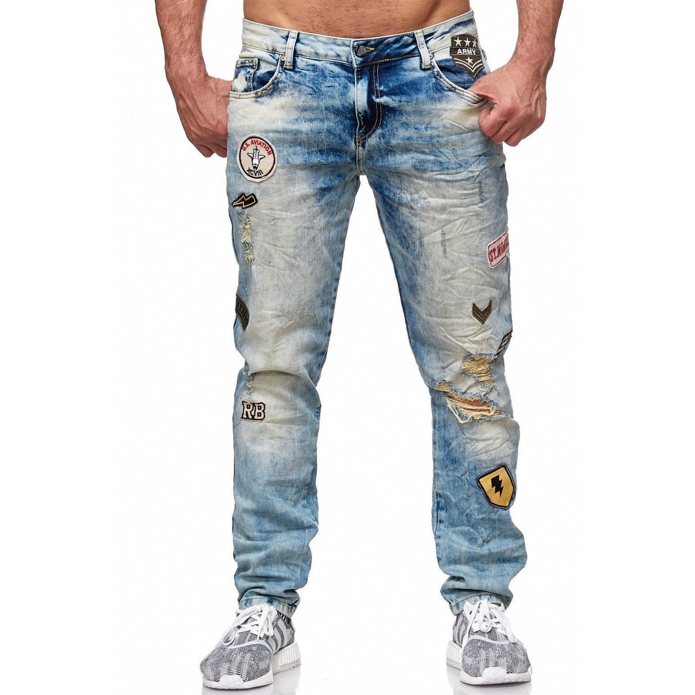 red bridge herren patches destroyed styler jeans hose. Black Bedroom Furniture Sets. Home Design Ideas