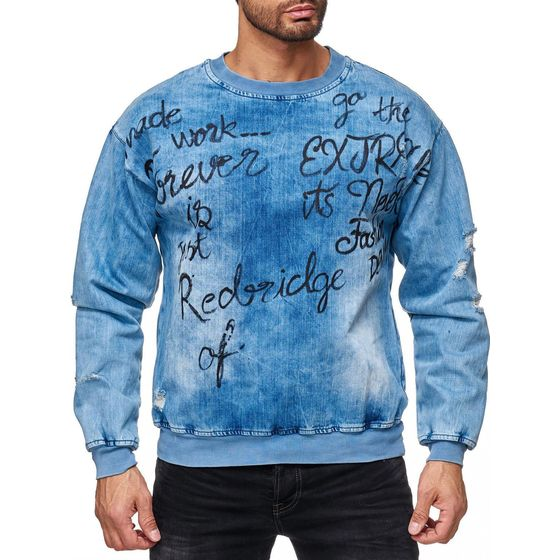 Red Bridge Men Denim Look Destroyed Pullover Sweatshirt...