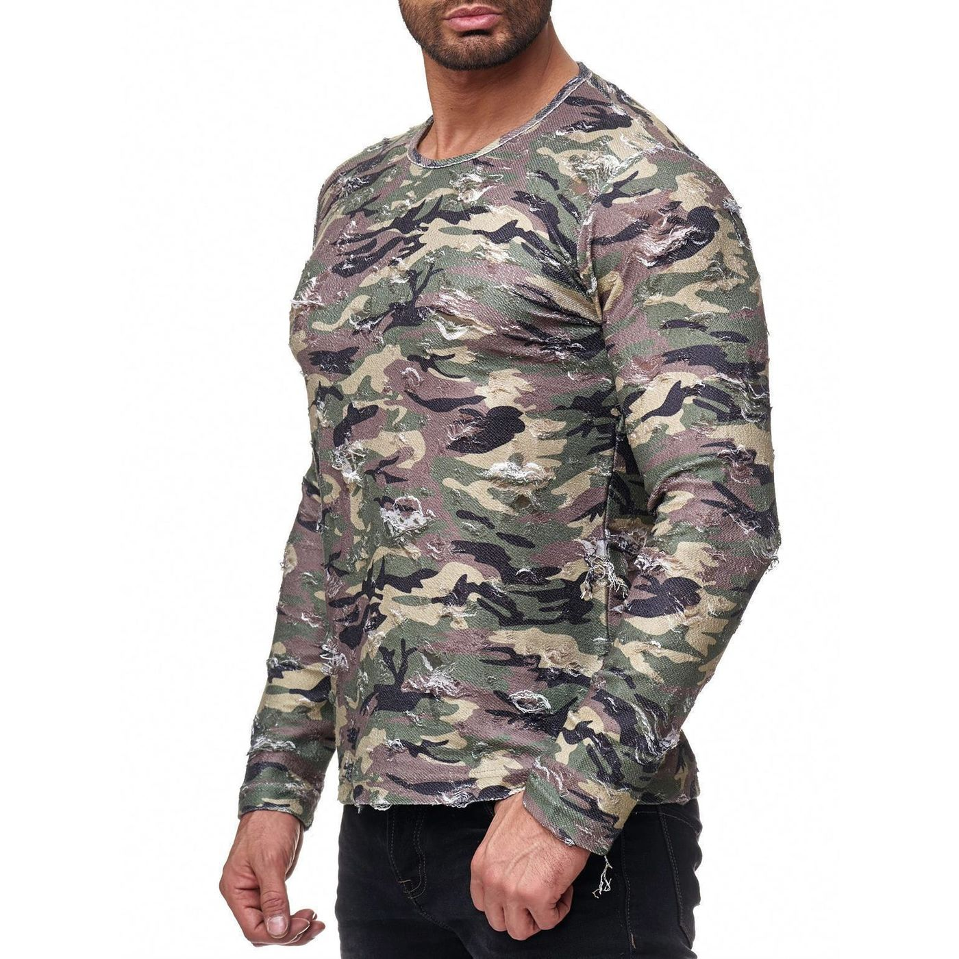 red bridge herren longsleeve sweatshirt destroyed army. Black Bedroom Furniture Sets. Home Design Ideas