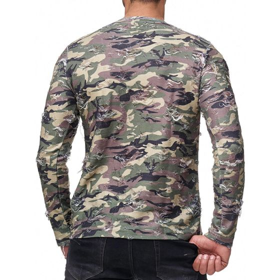 Red Bridge Herren Longsleeve Sweatshirt Destroyed Army Shirt Pullover Camouflage