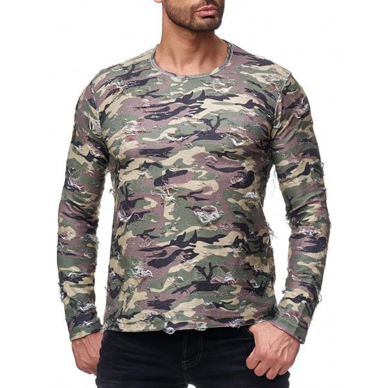 b406e1fc2190aa Red Bridge Men Longsleeve Sweat Destroyed Army Camouflage Long Sleeve  Pullover Multicolor