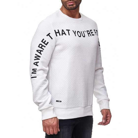 Red Bridge Herren Pullover Sweat you are following me Longsleeve Weiß