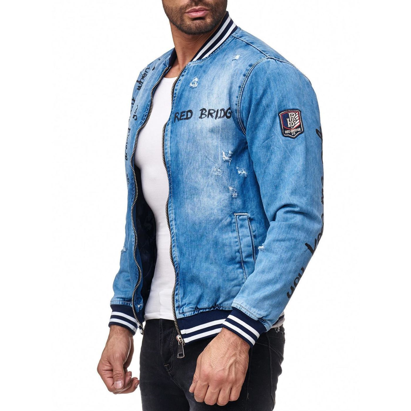 Red Bridge Men Jeans Jacket College Style Transition Jacket with Lettering  and Patch Blue Denim Blue d2cd9921d6