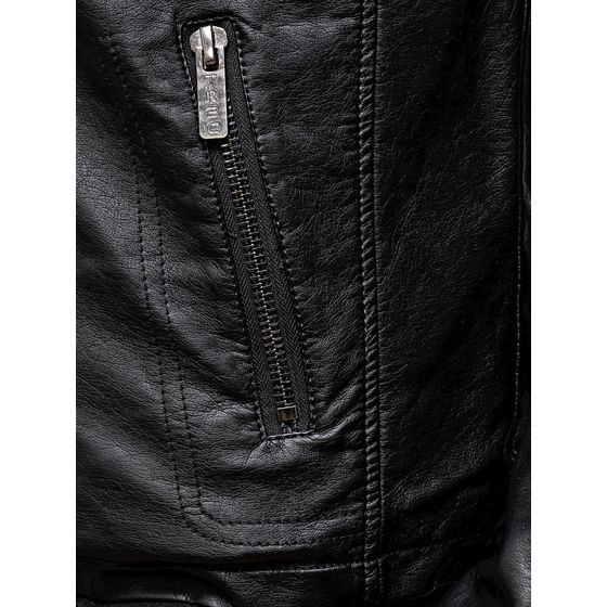 Red Bridge Herren Jacke Kunst- Lederjacke Biker MC Black imitation leather jacket Schwarz