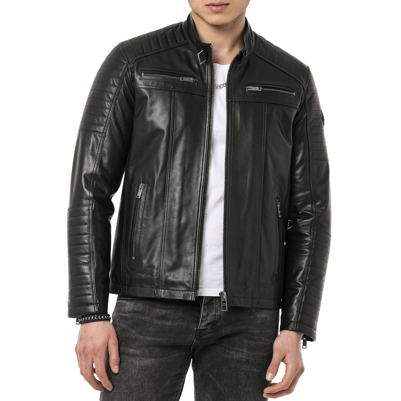 red bridge herren biker jacke kunst lederjacke jacket schwarz m6013 black 199 99. Black Bedroom Furniture Sets. Home Design Ideas
