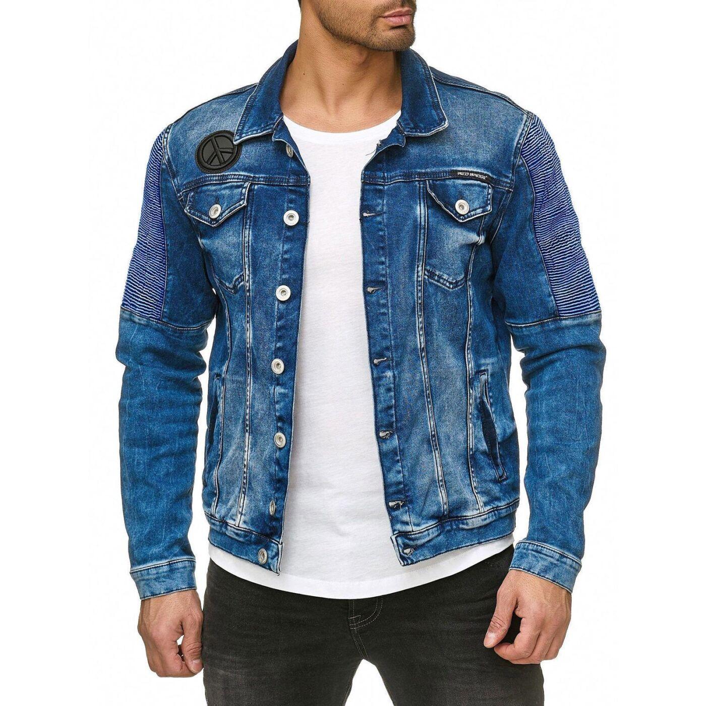 Herren Jeansjacke Gefüttert Jeans Jacke Dark Blue Denim Blau