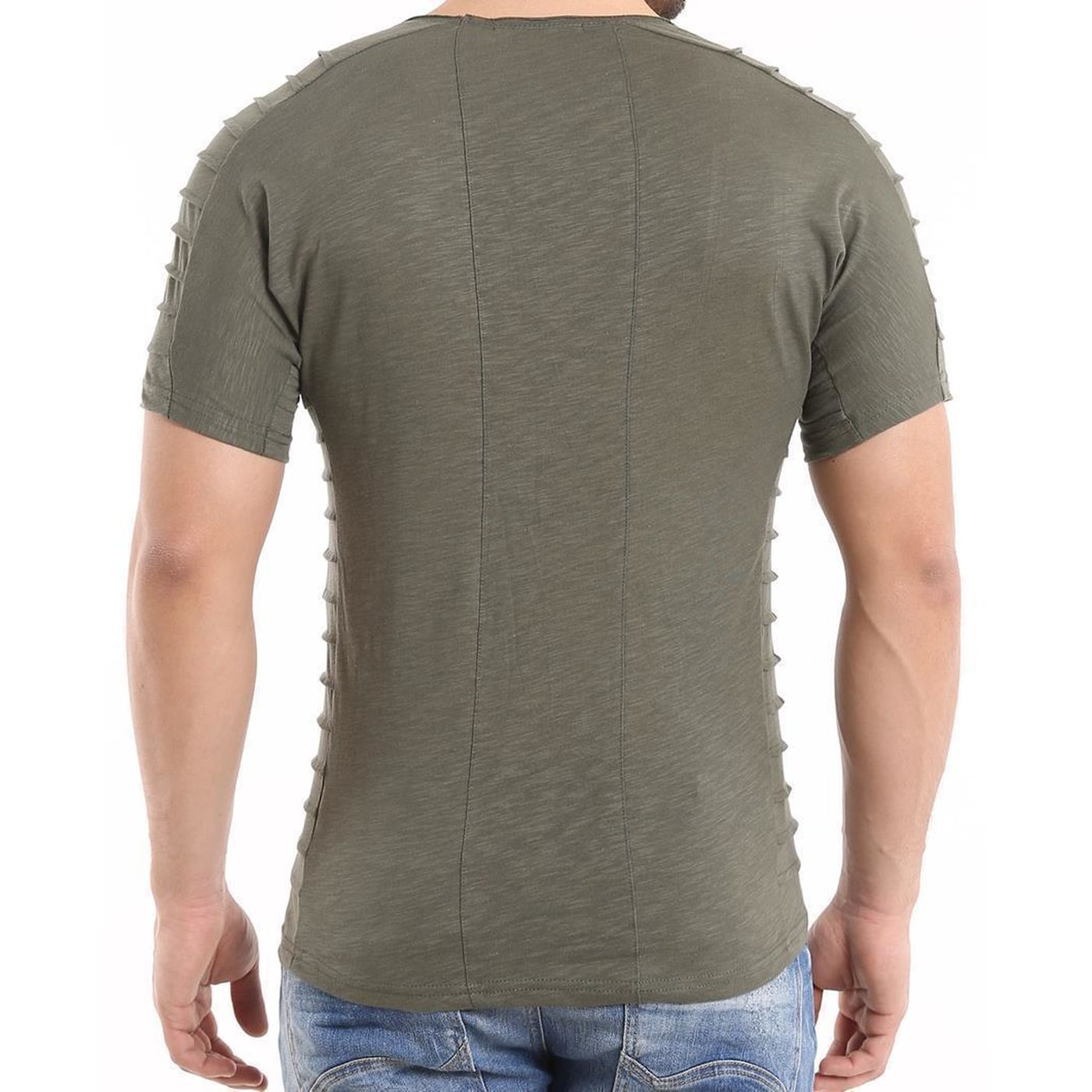 c547b7d56e32d8 Red Bridge Herren T-Shirt folded motiv RBC Band kurzarm Shirt Khaki Green