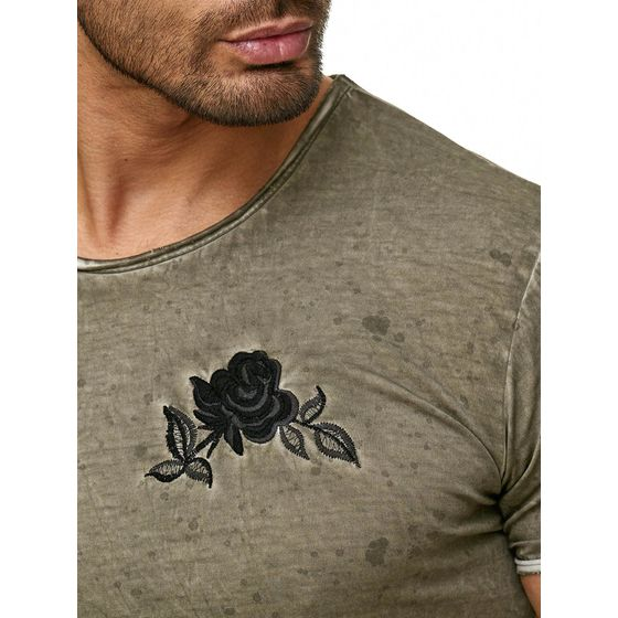 Red Bridge Herren T-Shirt Vintage Oil Washed Stiched Chest Flower