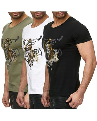 Red Bridge Herren T-Shirt Abstract Tiger mit Pailletten