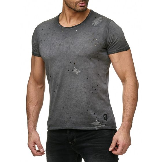 Red Bridge Herren T-Shirt Industry Oil Washed mit Löchern