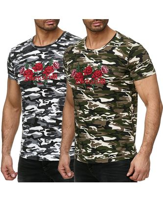 Red Bridge Herren T-Shirt Stitched Flowers Camouflage