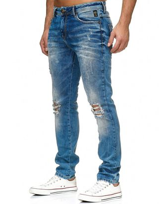 Red Bridge Herren Jeans Hose Destroyed Denim Blau