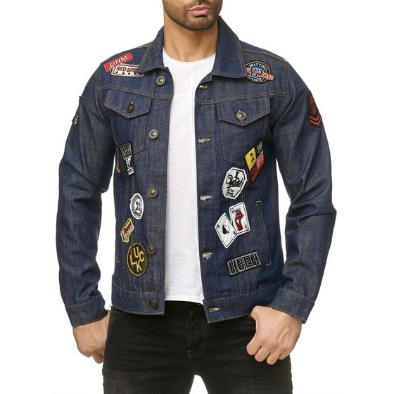 Red Bridge Herren Jeansjacke Jacke Denim Patches Blau