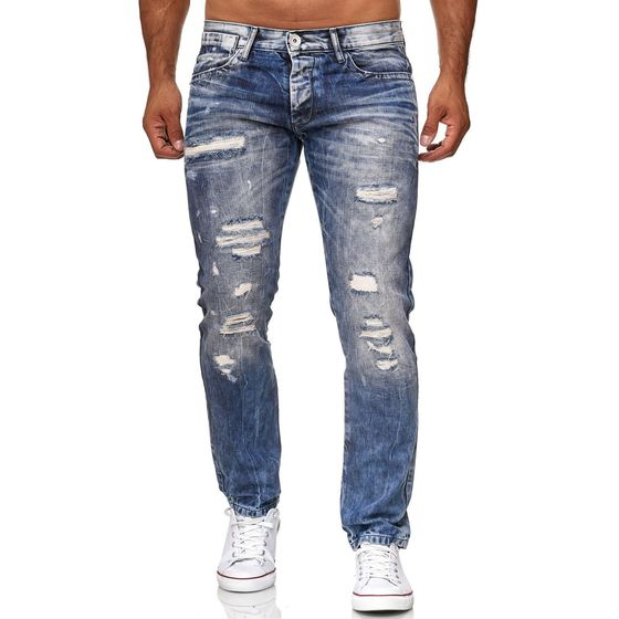 aa53978c2bd5 Red Bridge Herren Jeans Hose Destroyed Denim Röhrenjeans Regular Fit Used  Blau