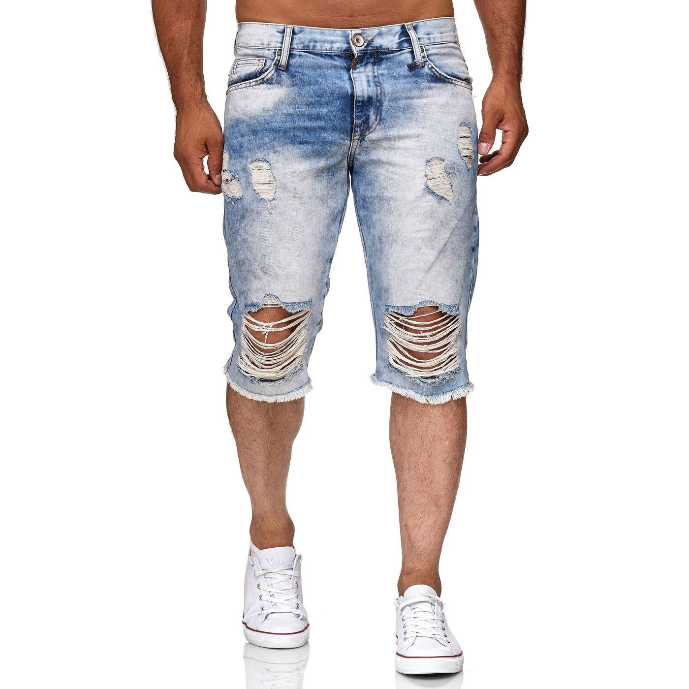 red bridge herren jeans short kurze hose 3 4 destroyed. Black Bedroom Furniture Sets. Home Design Ideas