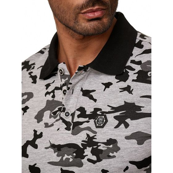 Red Bridge Herren Poloshirt Camouflage T-Shirt Metal Patch