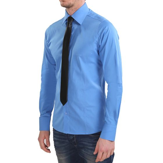 Red Bridge Herren Basic Design Slim Fit Langarm Hemd Blau