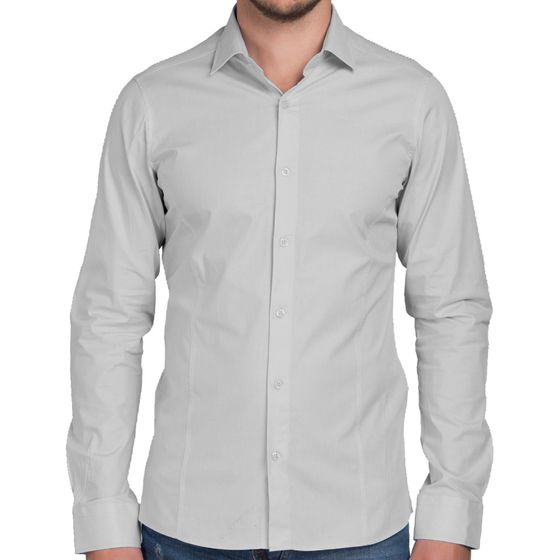 Red Bridge Herren Basic Design Slim Fit Langarm Hemd Grau
