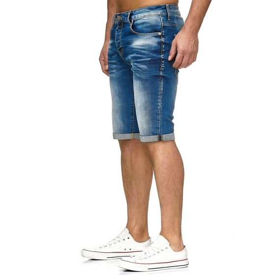 Red Bridge Herren Jeans Short Kurze Hose Denim Side Patch Chain Blau