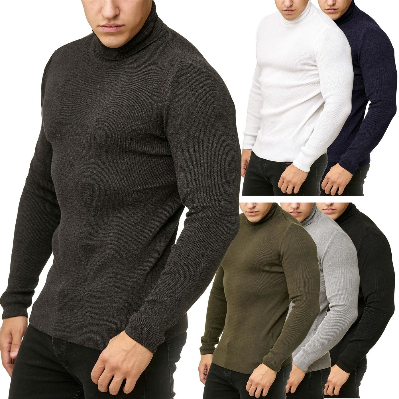 d205a3cdb Red Bridge Mens Knitted Pullover Turtleneck Sweater Soft Basic ...