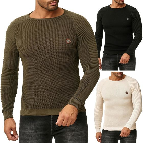 Red Bridge Herren Strickpullover Ribbed Arms Pullover