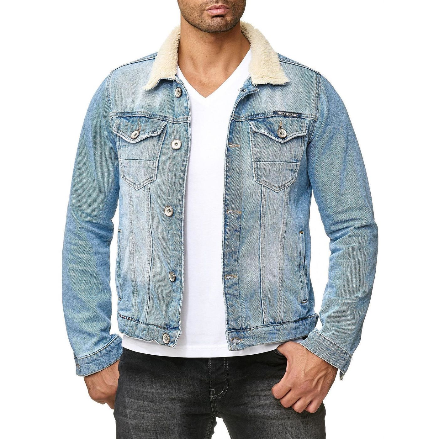 red bridge herren jeansjacke trucker sherpa jacke bergangsjacke deni 59 99. Black Bedroom Furniture Sets. Home Design Ideas