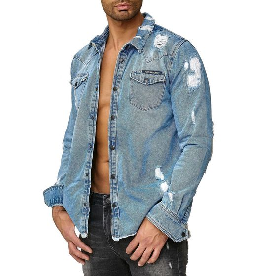Red Bridge Herren Jeanshemd Freizeit- Hemd Denim Destroyed
