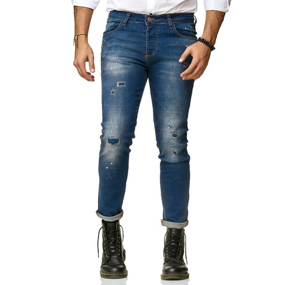 Red Bridge Herren Jeans Hose Slim-Fit Ripped Painted Destroyed Zombie