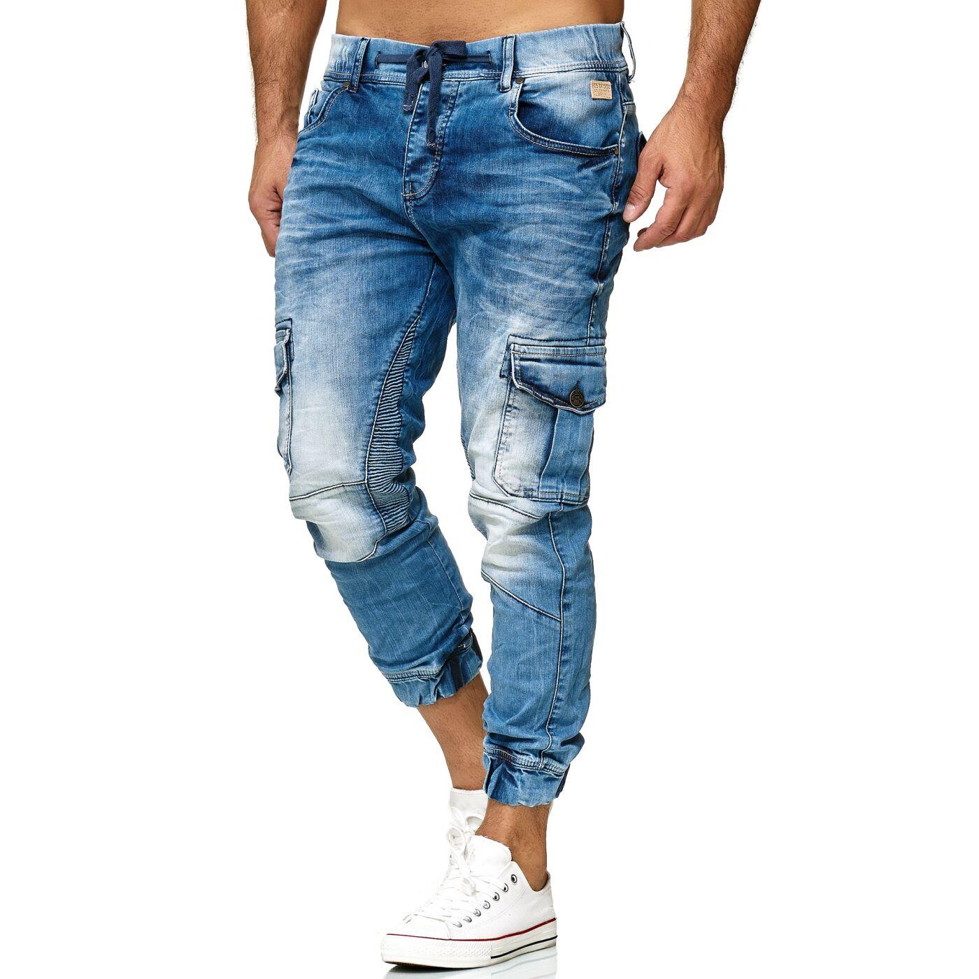 e3e281077b7379 Red Bridge Herren Jogger Denim Jeanshose Cargo Hose Narrow Leg Jeans  schmales Bein