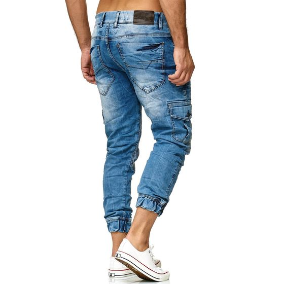 Red Bridge Herren Jogger Denim Jeanshose Cargo Hose Narrow Leg Jeans schmales Bein